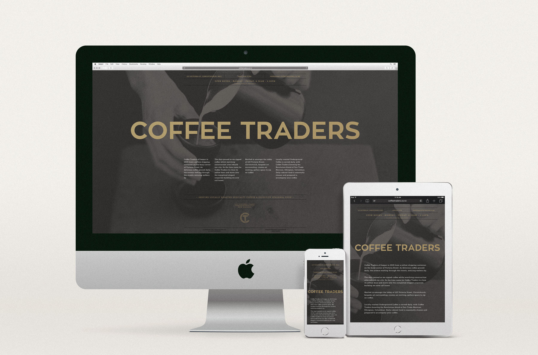 Coffee Traders single page website design
